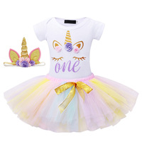 Newborn baby girl clothes set 1st Birthday Baby Girl Unicorn tops Rompers headband newborn girls Christening Party outfits