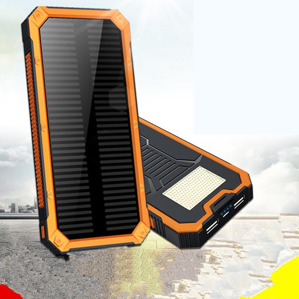 10000 mAh Banco de la energía Solar portátil USB Dual de la batería del teléfono móvil de carga Pover Banco Solar impermeable Poverbank