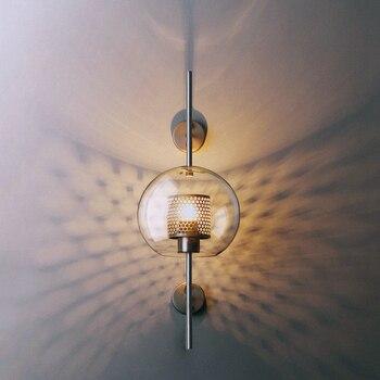 Современные настенные светильники, прозрачные стеклянные абажуры, настенные светильники для спальни, ресторана, учебы, подвесные светильн...