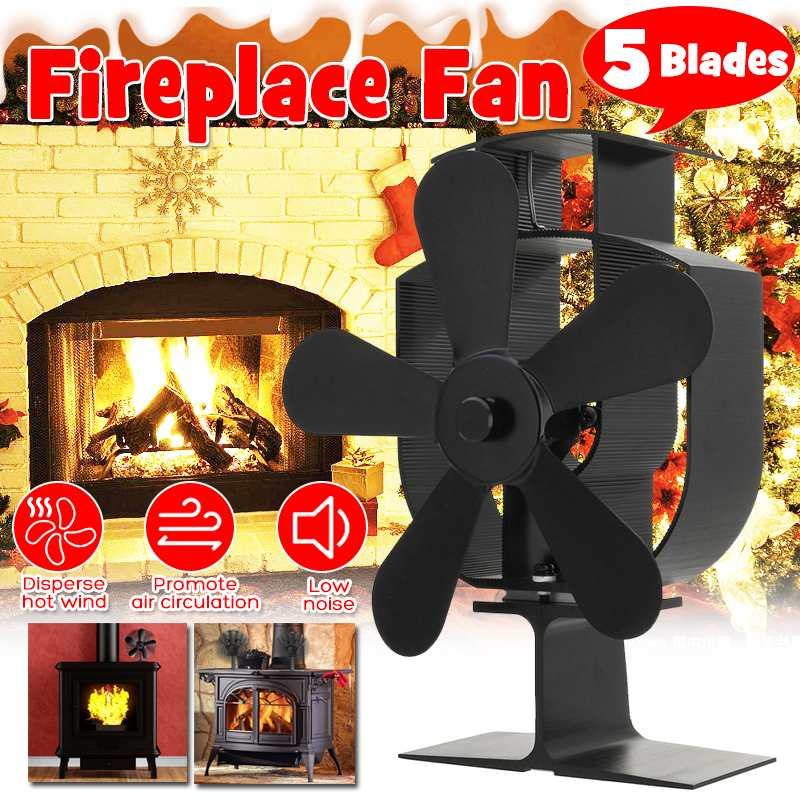 5 Blades Heat Powered Stove Fan Log Wood Burner Ecofan Quiet Black Home Fireplace Fan Efficient Heat Eco Stove Top Fan