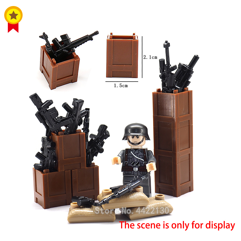 Military Building Blocks Battlefield Figures Mini Weapon World War 2 firearms Box Storage Box Assemble Toy With Legoinglys