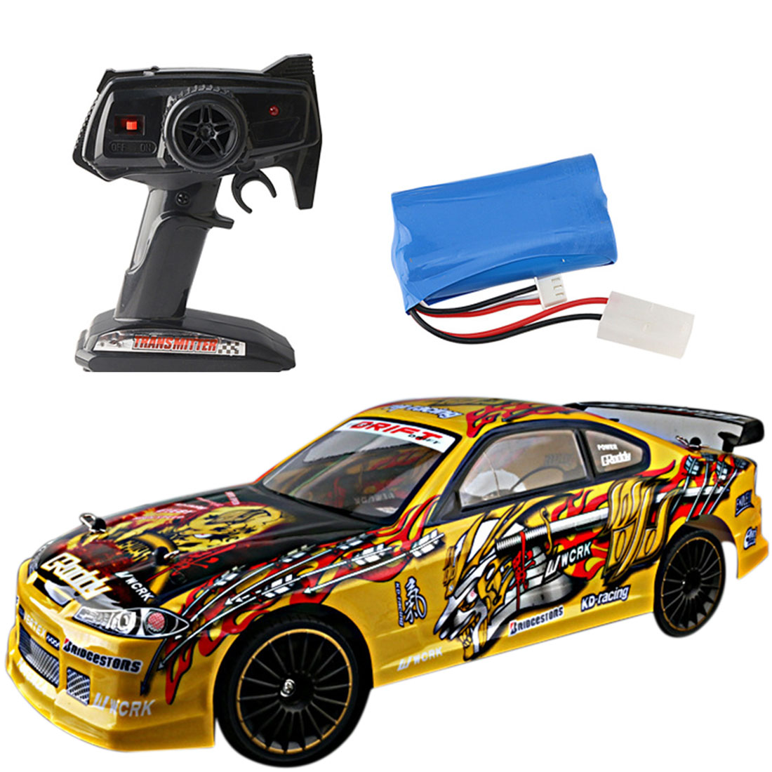 1:14 2.4G 4WD High-speed Vehicle RC Drift Car Toy For Kids Remote Control Toys Race Car Toys Boys - No.6 Yellow