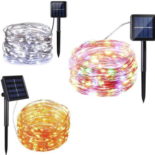 Alarm-lampe Kraftvoll Outdoor Solar Powered 33ft 100 Led 10 M Kupfer Draht Licht String Fee Xmas Party Taille Und Sehnen StäRken Sicherheitsalarm