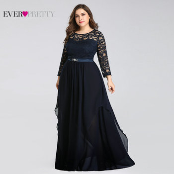 Plus Size Mother of the Bride Dresses Ever Pretty 7716 Elegant Long Sleeve Lace A-line Crystal Sashes 2020 Evening Party Gowns 3