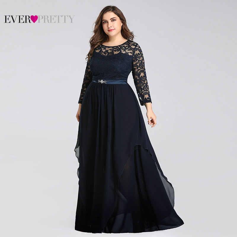 Vestidos de Madre de la novia talla grande siempre bonito 7716 elegante de manga larga de encaje de una línea de fajas de cristal 2019 fiesta de noche vestidos