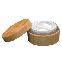 1 Set Make-up Cosmetic 30ml Empty Wooden Power Case Sponge Holder with Powder Puff Lids(China)