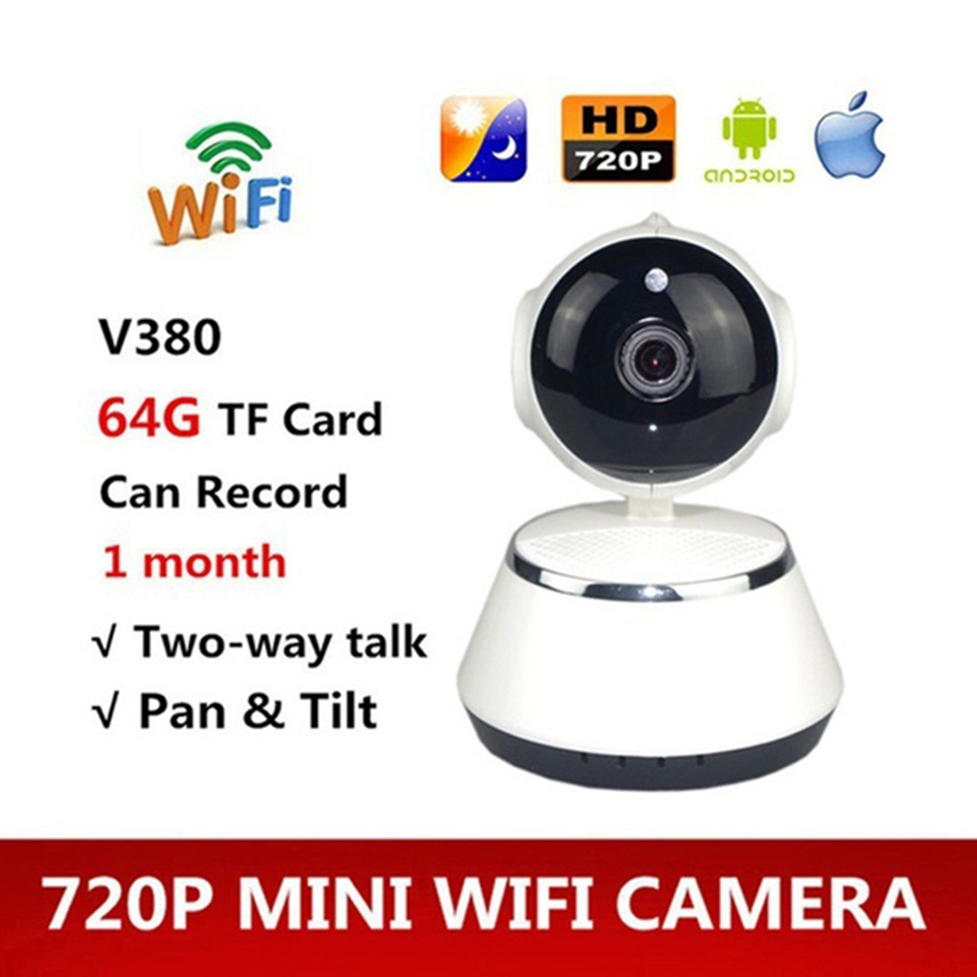 V380 Phone APP HD 720P Mini IP Camera Wifi Camera Wireless P2P Security Camera Night Vision IR Robot Baby Monitor Support(SD C