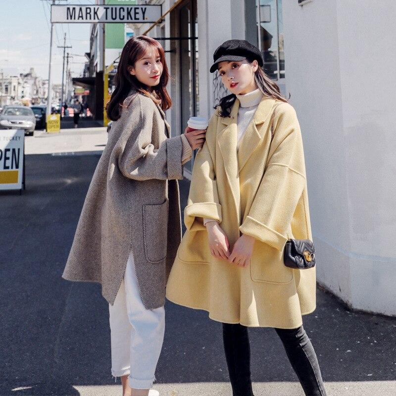 Yellow Oversize Pour Lâche 2018 Manteau Twill Vent Vestes Femme Hiver Laine L'automne Grandes Weave Mode Ourlet Nouveauté Yf402 En goose De Lanmrem Poches xBd8awaI
