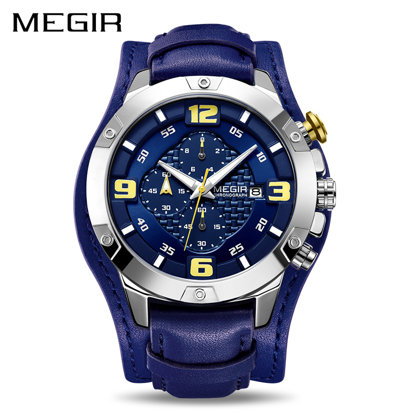 292816fbe05e Reloj MEGIR grandes relojes para Hombre marca de lujo cronógrafo de cuarzo  Reloj de los hombres-cuero pulsera-cuero C Relogio Reloj Hombre Dropship