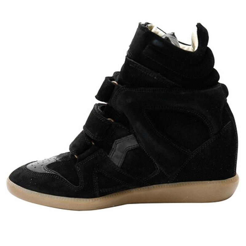 Роскошная Модная брендовая повседневная обувь из натуральной кожи, увеличивающая рост, женские кроссовки на скрытой танкетке, высокие крос