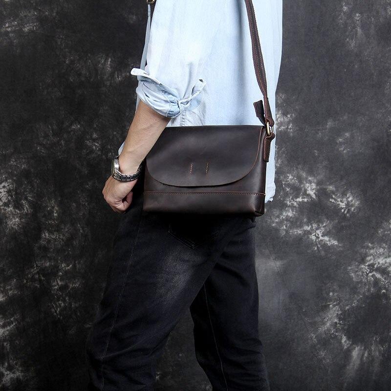 6c1d8a2b7539 Мужская винтажная crazy horse кожаная сумка из натуральной кожи сумка на  плечо iPad Толстая коровья кожа школьная сумка Магнитный клапан