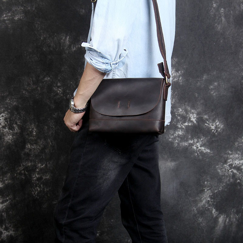 Mens Vintage crazy horse leather messenger bag Genuine leather shoulder bag iPad Thick Cow leather school bag magnetic flapMens Vintage crazy horse leather messenger bag Genuine leather shoulder bag iPad Thick Cow leather school bag magnetic flap