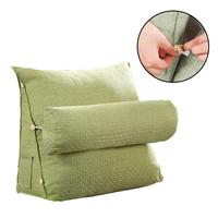 Cotton And Linen Cushions Solid Color Simple Office Waist Bedroom Pillow Headrest Backrest Triangle Pillow