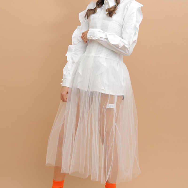 LANMREM 2019 весна лето новый корейский стиль свободный без рукавов модный тренд женский ремень сетка длинный ремень прямое платье QG055