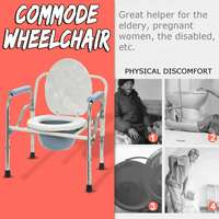 Foldable Commode Toilet Safety Chair Bedside Shower Bathroom Seat Adult Potty Removable Adjustable Height Lightweight Durable