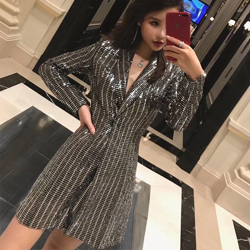 2019 Femme De Printemps Femmes Nouvelles Veste Silver Mode Mince Dames Tempérament gold Casual Superaen Vêtements Paillettes Sauvage vqHw7RWvS
