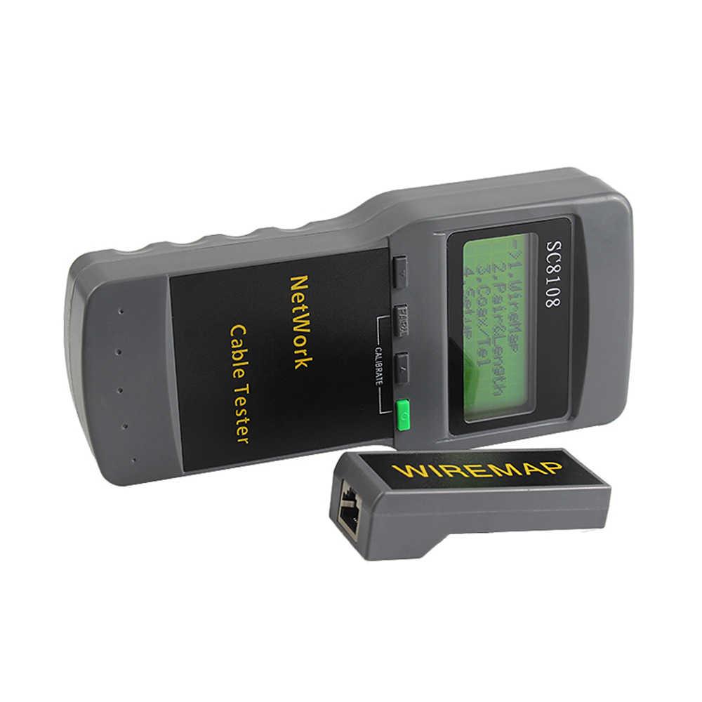 SC8108 المحمولة LCD شبكة اختبار متر و LAN الهاتف فاحص كيبل & متر مع شاشة الكريستال السائل LAN الهاتف كابل القياس
