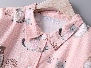 Image 5 - Bahar Rahat Yumuşak Pamuklu Seksi Pijama Artı Boyutu Kadınlar turn aşağı Yaka Kadın Iç Çamaşırı Gecelik Karikatür gece elbisesi