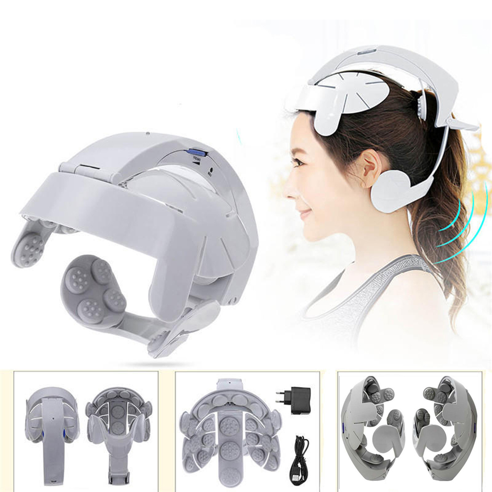 Electric Brain Head Massager Scalp Relax Acupuncture Points Multi Acupoint Helmet Head Massager Relieve Stress Nerve Stimulator