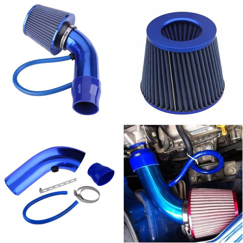 SPEEDWOW Alumimum 3.75mm Car Cold Air Intake System With Cone Air Filter