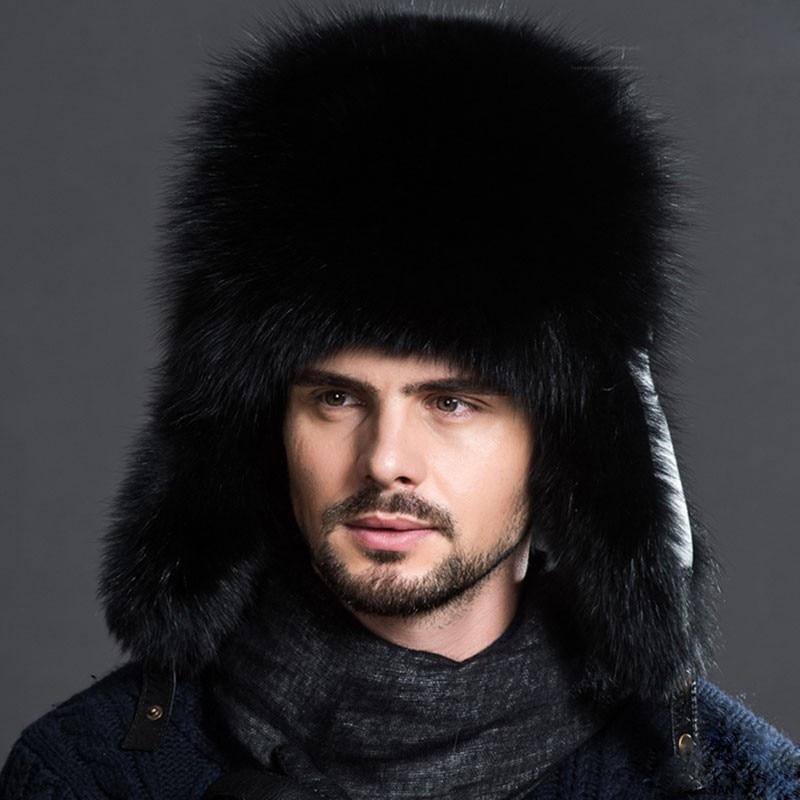 e297b3d49ba Hot Unisex Winter Russian Real Fox Fur Hat Warm Soft Quality Real Raccoon  Fur Bombers Cap