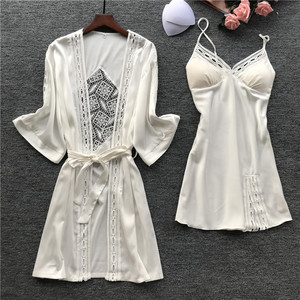 Image 2 - Lisacmvpnel primavera nuevo Sexy camisola pijamas Bata para mujer conjunto de seda hielo pijamas de manga larga 2 uds moda hueca ropa de dormir