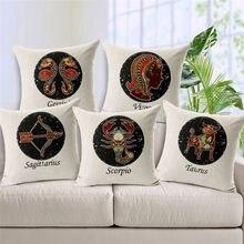 HGLEGYW тканые хлопковые льняные наволочки для подушек, для дома торговые знаки на чехол для подушки зодиака 12