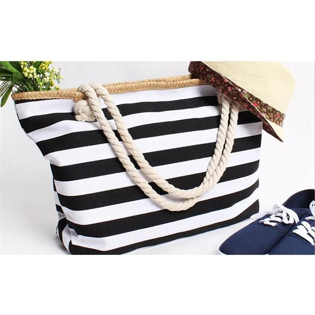2019 New Beach Tote Bag Fashion Women Canvas Summer Large Capacity Striped Shoulder Bag Tote Handbag Shopping Shoulder Bags 3