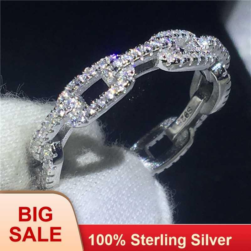 Ручной работы цепочка форма обещающее кольцо 100% Soild стерлингового серебра 925 ювелирные фианит AAAAA обручальные Обручальные кольца для женщин