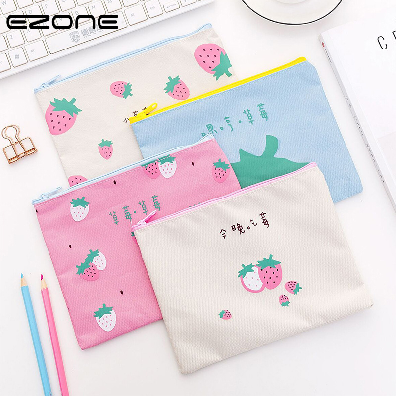 EZONE Kawaii Document Bag Cute Strawberry Pattern File Bags For Planner Organizer Children Pencil Bag Cases School Office Supply