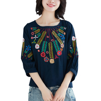 Spring Summer Cotton Linen Blouse O neck Women Tops And Blouses Vintage 3/4 Sleeve Embroidery Shirt Blusas Camisa