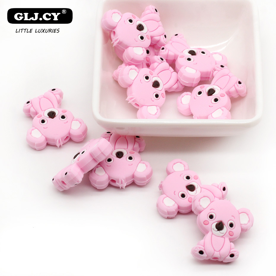 100pc Silicone Teething Rodent Mini Bear Sheep Food Grade Beads DIY Nursing Accessories Swan Dog Beads Baby  Gifts