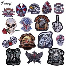Pulaqi Punk Biker Patches Appliqued Iron Sewing On Transfer Sew-on Badge Clothes Decor For Jeans Bag Hat DIY Skull Patch H