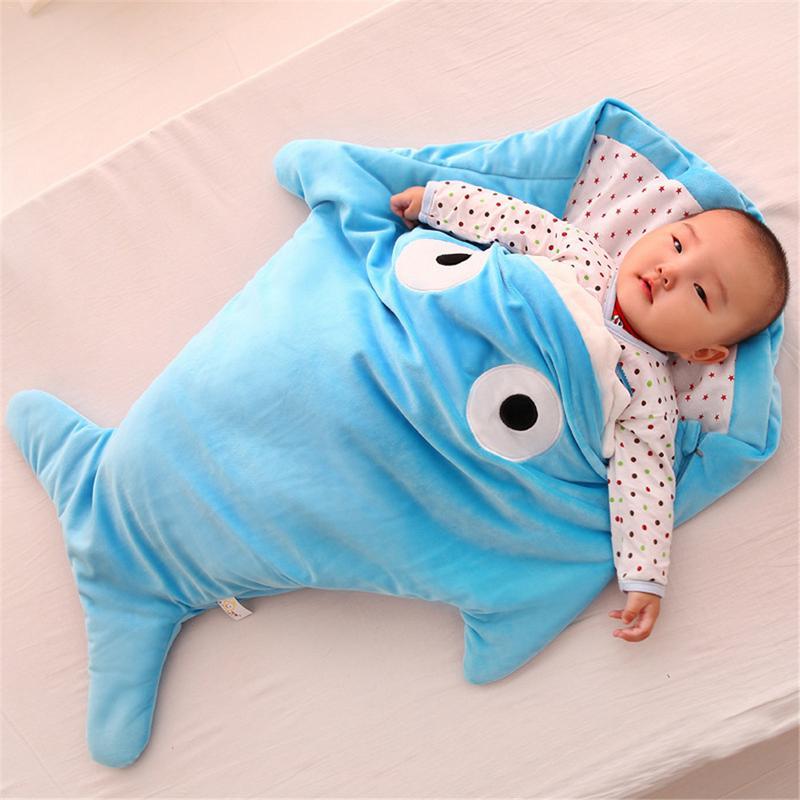 Bebé bolsa de dormir tiburón forma de bolsa de dormir de dibujos animados Anti-kick es otoño y el invierno bebé recién nacido de algodón regalos creativos