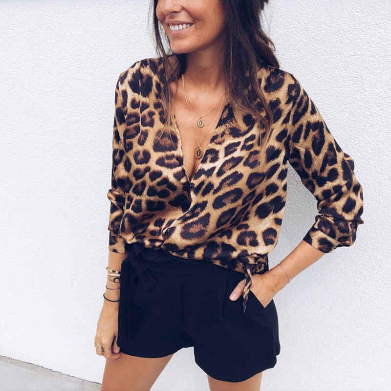 2018 New Phụ Nữ Ladies Leopard Print Lỏng Dài Tay Áo V-Cổ Sexy Tops Áo Nữ Thời Trang Áo Sơ Mi Áo Cánh Quần Áo Hàng Đầu