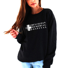 Women Round Neck Oversized Hoodie Fashion Grey Sloan Memorial Hospital Sweatshirts Casual Long-Sleeved Pullovers Tops