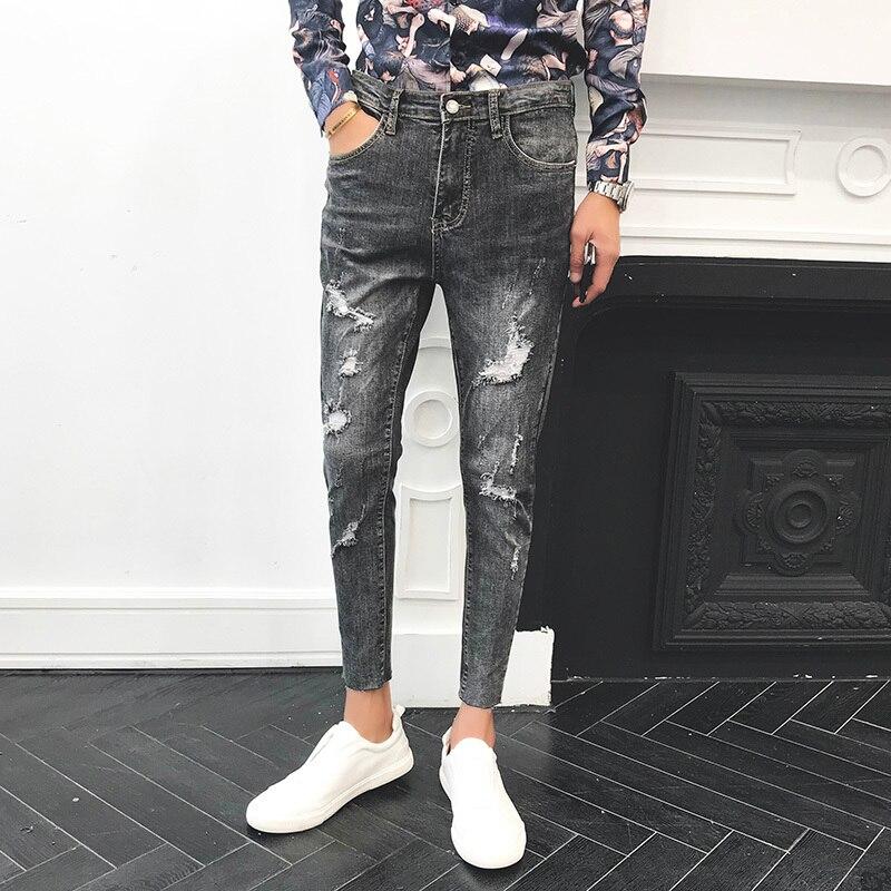 Printemps nouveau Jeans hommes Slim mode lavage déchirement trou Denim pantalon homme Streetwear décontracté sauvage Hip Hop Cowboy pantalon mâle vêtements