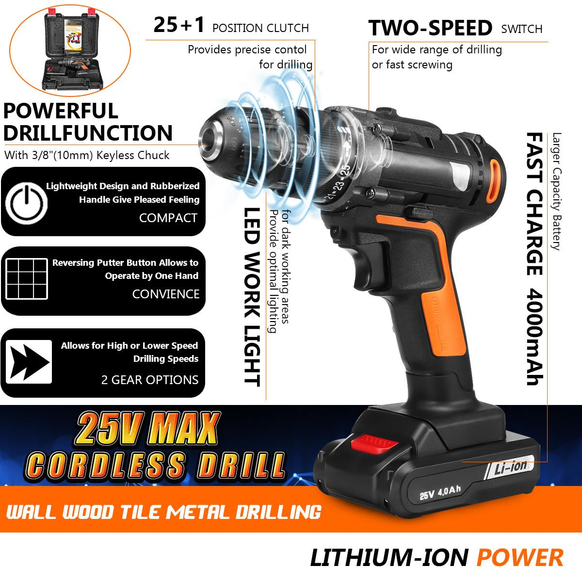 25V 48Nm Mini Electric Screwdriver Cordless Drill Rechargeable Max Torque 3/8 Chuck Wireless Power Driver 2 Li-Battery Kit25V 48Nm Mini Electric Screwdriver Cordless Drill Rechargeable Max Torque 3/8 Chuck Wireless Power Driver 2 Li-Battery Kit