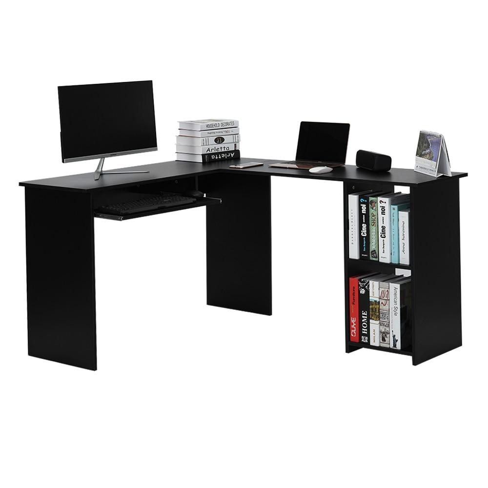 Large Home / Office Desk L Shaped Computer Desk With Sliding Keyboard Tray  + 2 Bookshelf Corner Table