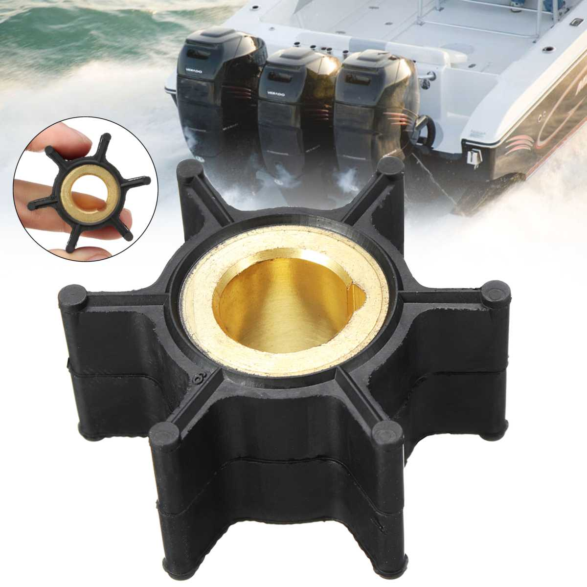 389576 436137 Water Pump Impeller For Evinrude Johnson 4HP-8HP Outboard Motor 6 Blades Black Rubber Diameter 38mm Accessories