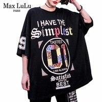 Max LuLu Summer 2019 Fashion Korean Style Ladies Hip Hop Tops Tees Womens Sequins T Shirt Cotton Female Printed Tshirt Plus Size