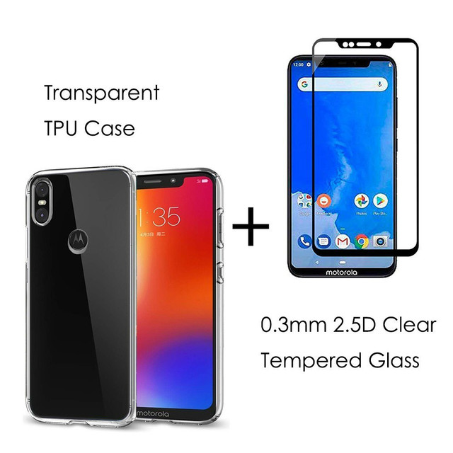 best service 34e8c b8b93 US $4.64 7% OFF|Clear TPU Back Cover Case For Motorola One Power P30 Note  /Moto One P30 Play 0.3MM 9H Full Cover Tempered Glass Screen Protector-in  ...