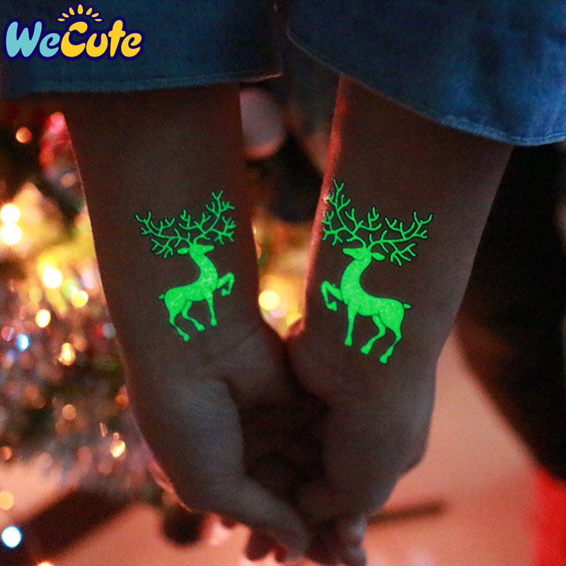 Wecute Luminous Tattoos Glow In The Dark Children's Temporary Tattoos Kids Christmas Fluorescent Waterproof Cute Stickers