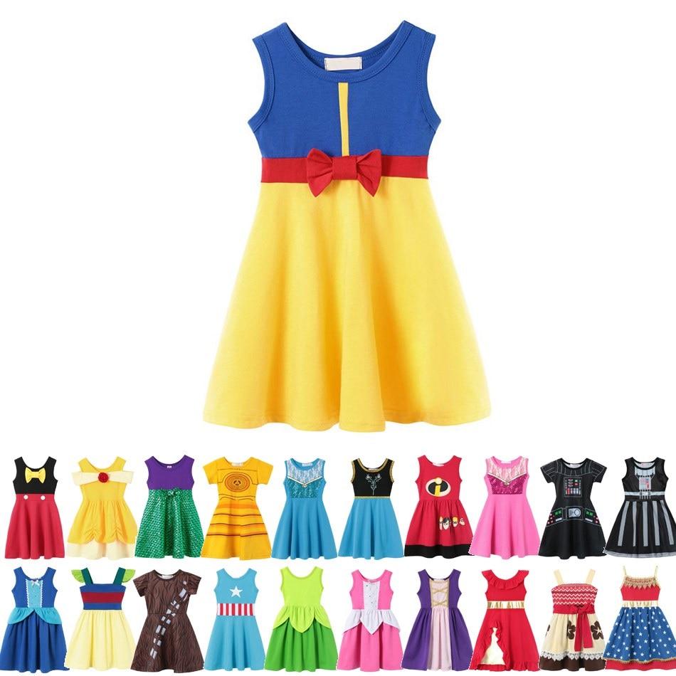 VOGUEON Girl Snow White Princess Dress Children Belle Ariel Aurora Elsa Anna Mickey Rapunzel Belle Birthday Fancy Dress Costume