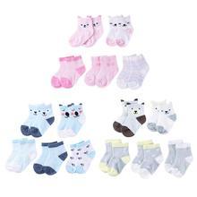 5 пар/лот мультфильм малышей младенческой Детские носки для маленьких мальчиков девушки милые Мягкий хлопок теплые носки в полоску