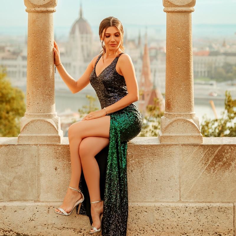 Mermaid Prom Dresses 2019 Sexy Leg Slit Sequined Sparkle Vestidos De GalaNew Arrival V-neck Sleeveless Elegant Gala Jurken