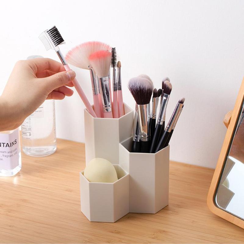 Makeup Brush Storage Box 3 Lattices Nail Polish Eyebrow Pencil Cosmetics Box Holder Brush Pot Cosmetic Brush Storage Case Box