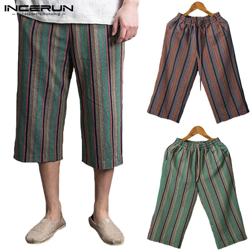 Harajuku Ethnic Striped Trousers Casual Pants Wide Legs Pants Baggy Men Elastic Waist Calf Length Loose Pantalon Hombre Jogger
