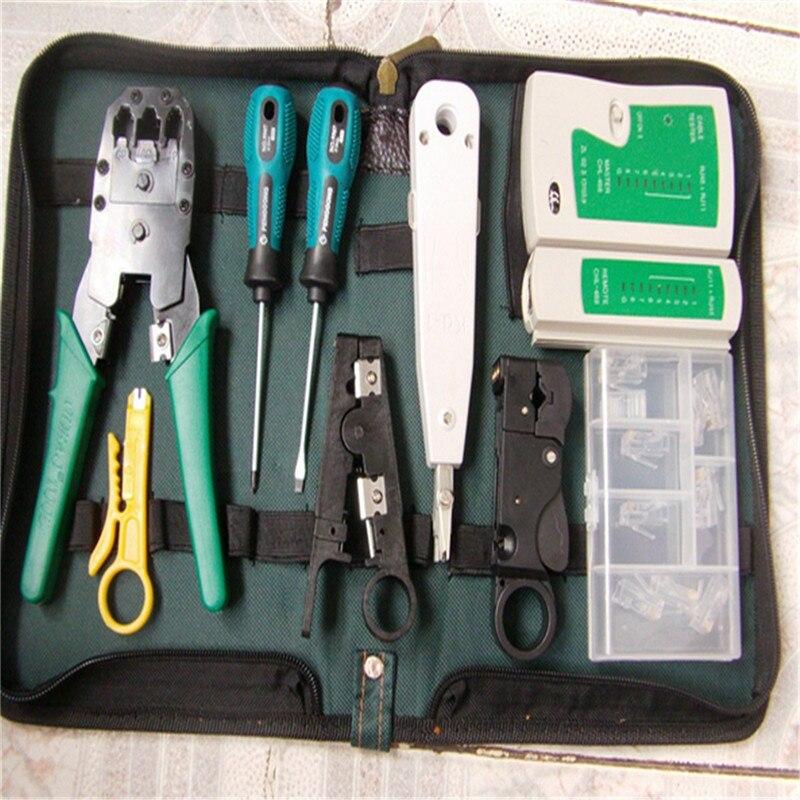 9 en 1 LAN Kit d'outils réseau Set sac testeur de câble connecteur pince à sertir pince coupe-fil tournevis pour RJ45 RJ11 RJ12 CAT5