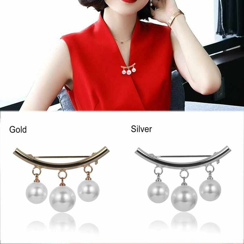 Anti-emptied Brooch Korean Simple Pearl Cardigan Anti Wearing Pins Silver Golden Fixed Straps Anti Slip Brooch 1PC